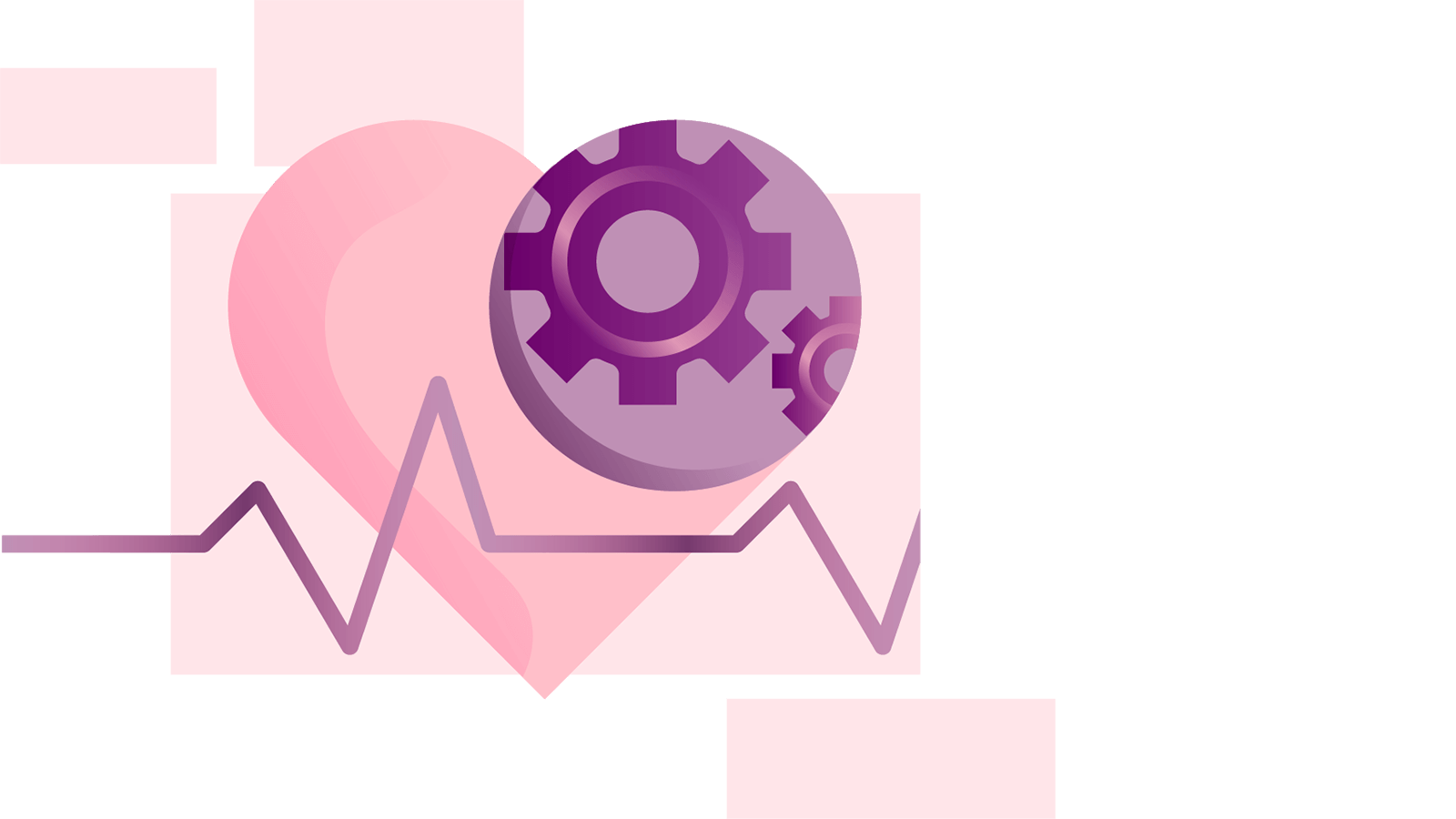 Illustration of a heart with a cog and heart rate pulse line