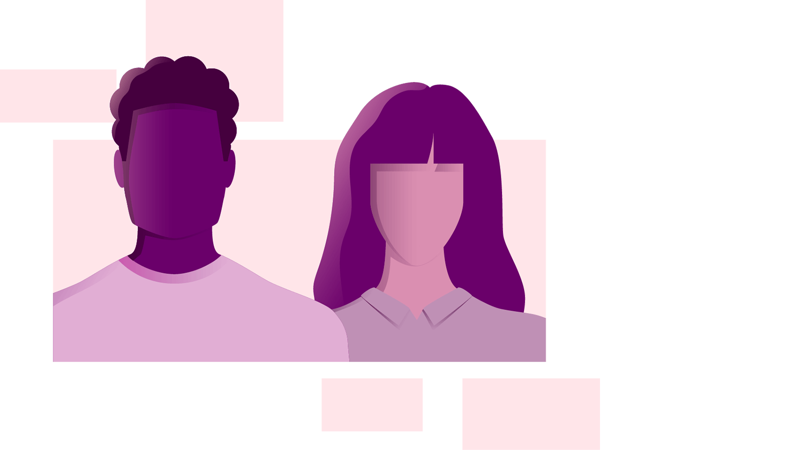 Illustration of a male and female silhouette.