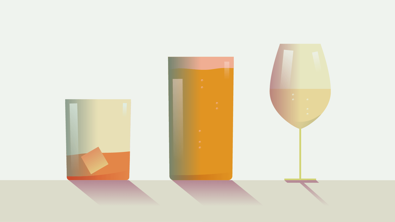 Illustration of a whisky glass, pint glass and wine glass