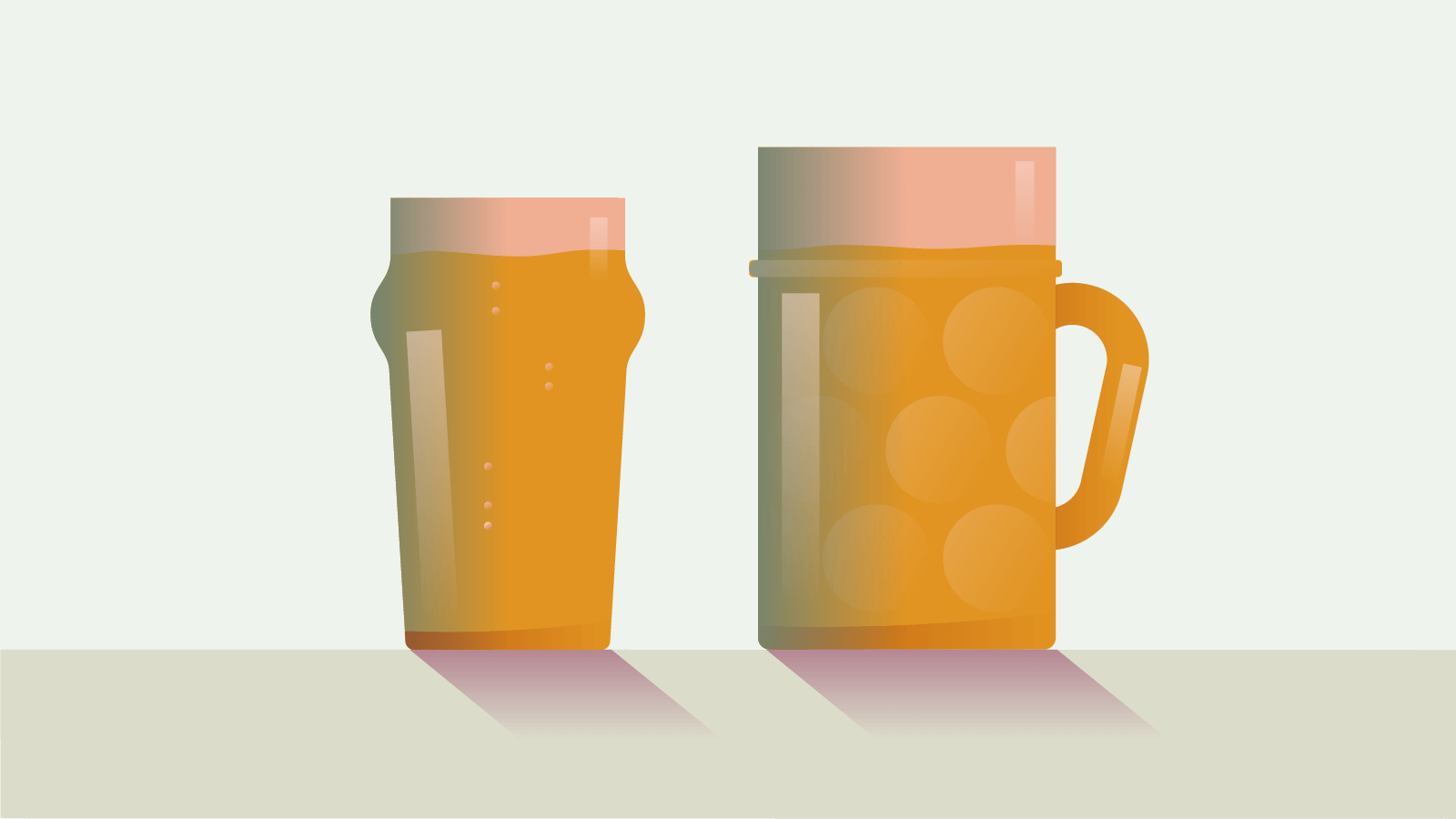 Illustration of two different sized beer glasses