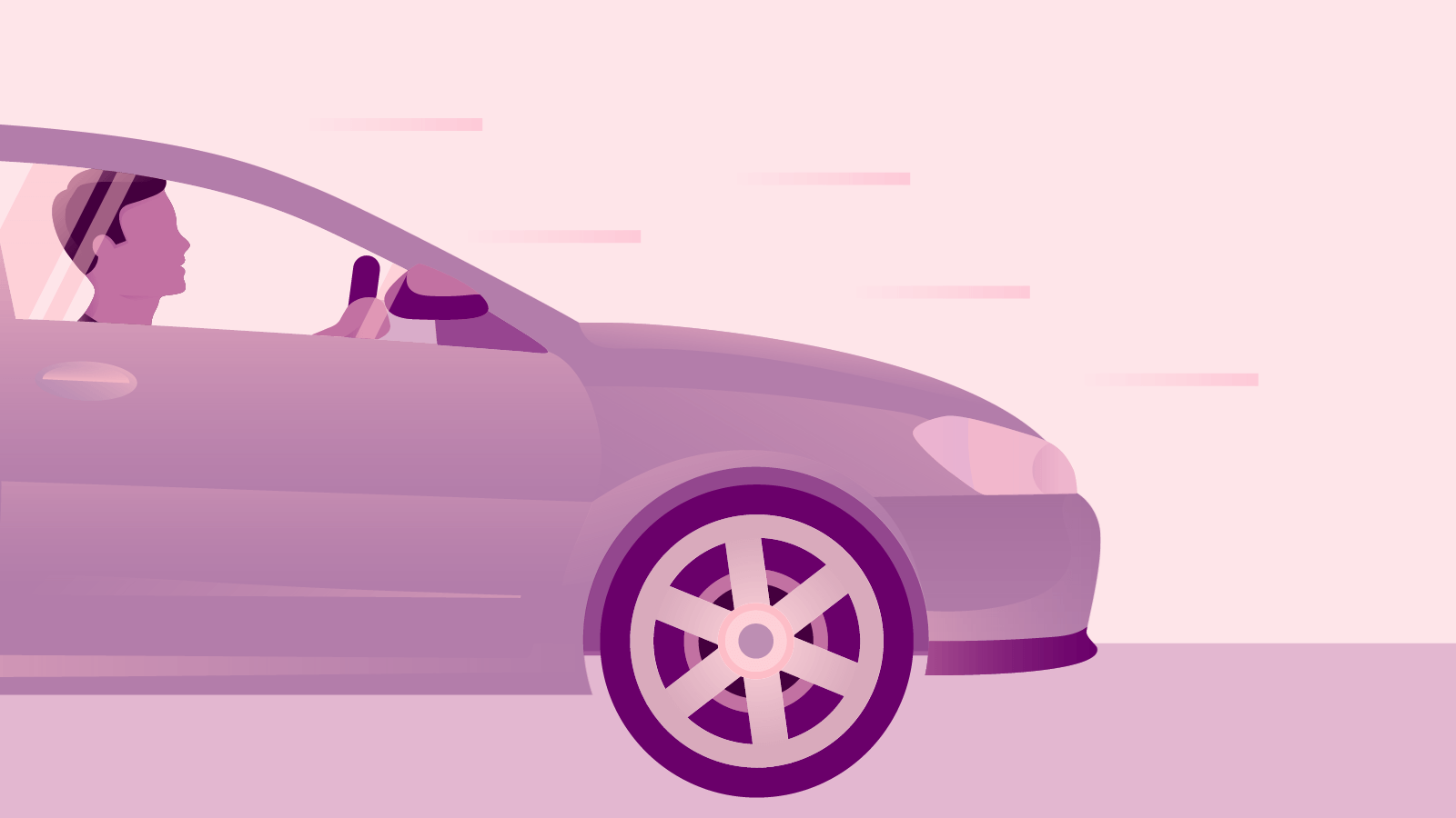 Illustration of a person driving a car