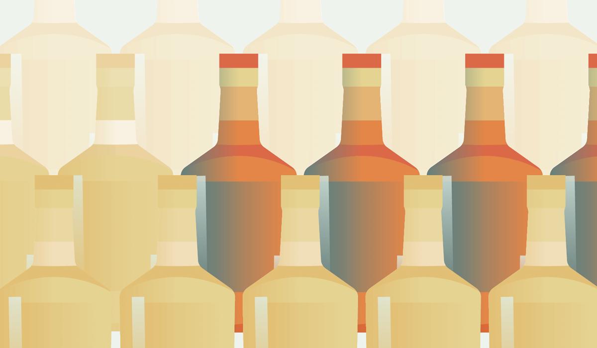 Illustration, der viser flere alkoholflasker opstillet i tre rækker