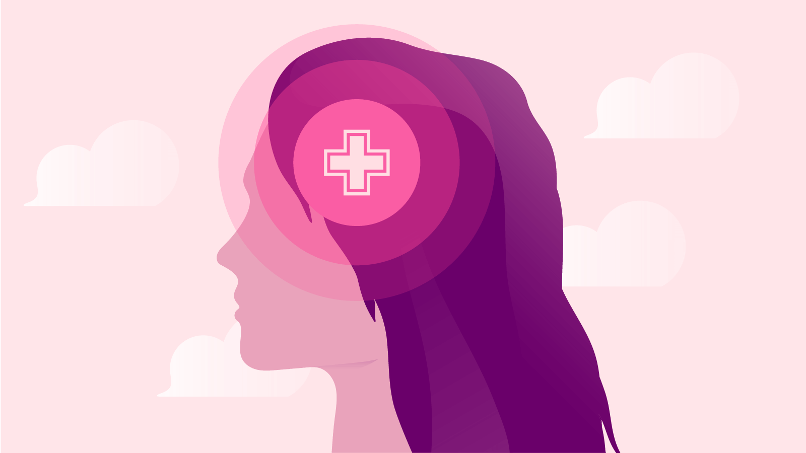 Illustration of a female head with a health sign