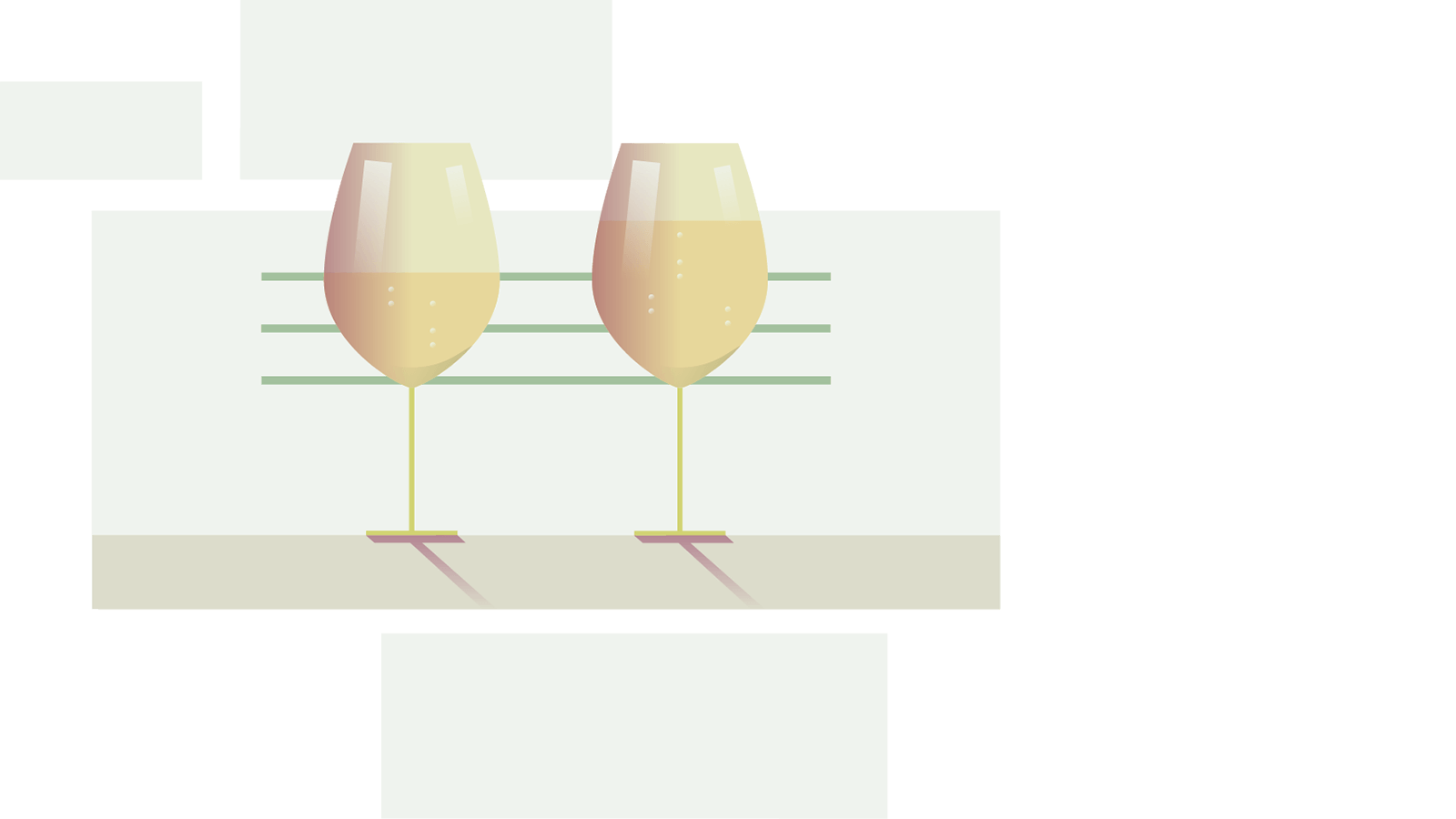 Graphic image of two wine glasses. One with a small wine serving and the other with a large wine serving.