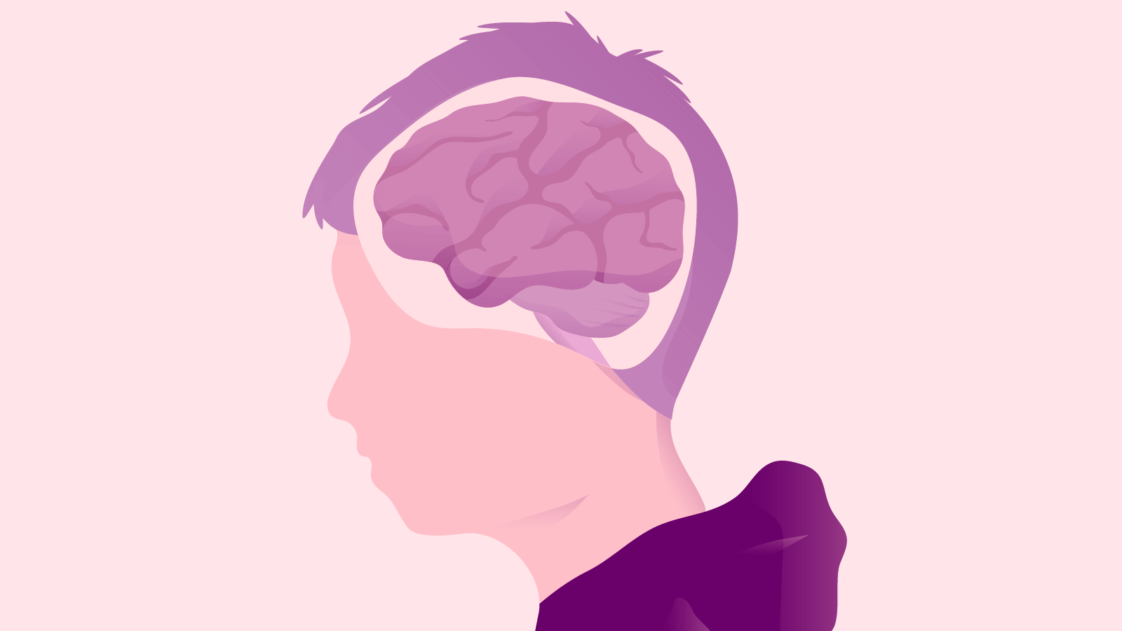 Illustration of a young boy's head and a simplified version of his brain